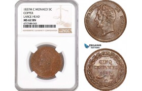 AF117, Monaco, Honore V, 5 Centimes 1837-M, Copper, Large Head, NGC MS62BN, Pop 1/0