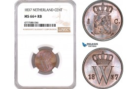 AF119, Netherlands, Willem I, 1 Cent 1837, Utrecht, NGC MS66+RB, Pop 1/0