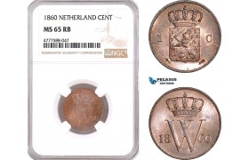 AF120, Netherlands, Willem III, 1 Cent 1860, Utrecht, NGC MS65RB, Pop 1/0