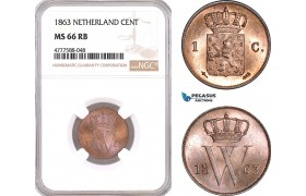 AF121, Netherlands, Willem III, 1 Cent 1863, Utrecht, NGC MS66RB, Pop 1/0