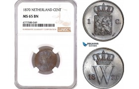 AF122, Netherlands, Willem III, 1 Cent 1870, Utrecht, NGC MS65BN, Pop 1/0