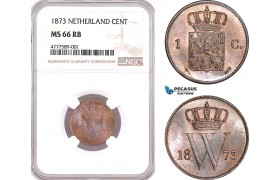 AF123, Netherlands, Willem III, 1 Cent 1873, Utrecht, NGC MS66RB, Pop 1/0