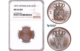 AF124, Netherlands, Willem III, 1 Cent 1875, Utrecht, NGC MS64BN, Pop 1/0