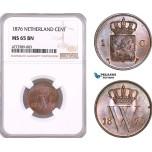 AF125, Netherlands, Willem III, 1 Cent 1876, Utrecht, NGC MS65BN, Pop 1/0