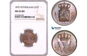 AF125, Netherlands, Willem III, 1 Cent 1876, Utrecht, NGC MS65BN, Pop 1/0