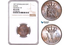 AF126, Netherlands, Willem III, 1 Cent 1876, Utrecht, NGC MS64BN