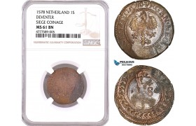 AF127, Netherlands, Deventer, Siege Coinage, 1 Stuiver 1578, Countermarked, NGC MS61BN, Pop 1/0