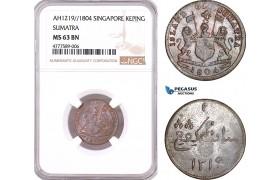 AF128, Netherlands East Indies, Singapore, Sumatra, 1 Keping AH1219 / 1804, NGC MS63BN