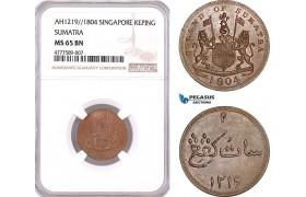 AF129, Netherlands East Indies, Singapore, Sumatra, 1 Keping AH1219 / 1804, NGC MS65BN