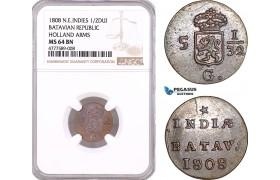 AF130, Netherlands East Indies, Batavian Rep. 1/2 Duit 1808, Holland Arms, NGC MS64BN