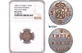 AF132, Netherlands East Indies, Batavian Rep. 1/2 Duit 1809, Holland Arms, NGC MS62BN