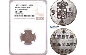 AF133, Netherlands East Indies, Batavian Rep. 1/2 Duit 1809, Holland Arms, NGC MS65BN