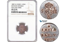 AF134, Netherlands East Indies, Batavian Rep. 1/2 Duit 1809, Holland Arms, NGC MS62BN
