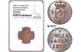 AF135, Netherlands East Indies, Batavian Rep. 1 Duit 1809, Holland Arms, NGC MS64BN