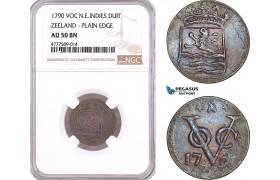 AF136, Netherlands East Indies, VOC, 1 Duit 1790, Zeeland Arms, NGC AU50BN