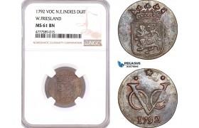 AF137, Netherlands East Indies, VOC, 1 Duit 1792, West Friesland Arms, NGC MS61BN