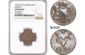 AF138, Netherlands East Indies, VOC, 1 Duit 1794, Utrecht Arms, NGC AU Details