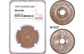 AF139, Palestine, 20 Mils 1942, London, NGC MS64BN