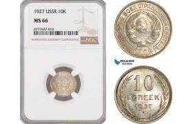 AF143, Russia, USSR, 10 Kopeks 1927, Leningrad, Silver, NGC MS66