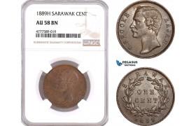 AF145, Sarawak, C. Brooke Rajah, 1 Cent 1889-H, Heaton, NGC AU58BN
