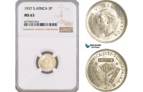 AF146, South Africa, Union, George VI, Threepence 1937, Pretoria, Silver, NGC MS63