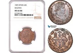 AF147, Spain, Ferdinand VII, 4 Maravedis 1825, Segovia, NGC MS66RB, Pop 1/0