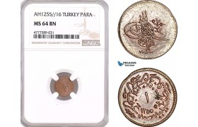 AF157, Ottoman Empire, Turkey, Abdul Mejid, 1 Para 1255/16, NGC MS64BN, Pop 2/0