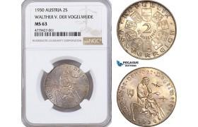 AF168, Austria, 2 Shilling 1930, Silver, Walther V. Der Vogelweide, NGC MS63
