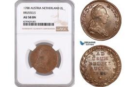 AF169, Austrian Netherlands, Joseph II, 2 Liard 1788, Brussels, NGC AU58BN