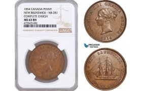 AF170, Canada, New Brunswick, Victoria, Penny 1854, Complete Ensign, NB-2B1, NGC MS63BN
