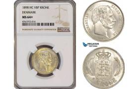 AF171-R, Denmark, Christian IX, 1 Krone 1898, Copenhagen, Silver, NGC MS64+