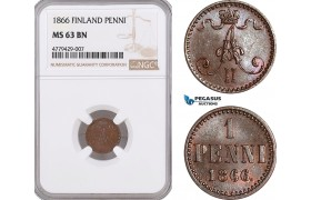 AF175, Finland, Alexander II. of Russia, 1 Penni 1866, NGC MS63BN