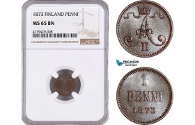 AF176, Finland, Alexander II. of Russia, 1 Penni 1873, NGC MS65BN