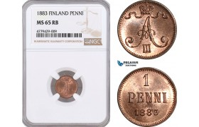 AF177, Finland, Alexander III. of Russia, 1 Penni 1883, NGC MS65RB