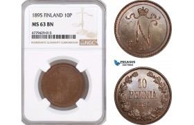 AF180, Finland, Nicholas II. of Russia, 10 Penniä 1895, NGC MS63BN