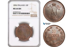 AF181, Finland, Nicholas II. of Russia, 10 Penniä 1896, NGC MS64BN