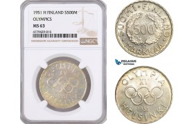 AF182, Finland, 500 Markkaa 1951-H, Helsinki, Silver, Olympics, NGC MS63, Rare!