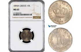 AF189, Greece, George I, 10 Lepta 1894-A, Paris, NGC MS63