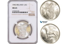 AF190, Ireland, 1/2 Crown 1942, Silver, NGC MS65