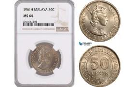 AF191, Malaya, Elisabeth II, 50 Cents 1961-H, Heaton, NGC MS64