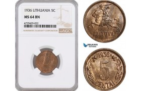 AF192, Lithuania, 5 Centai 1936, NGC MS64BN