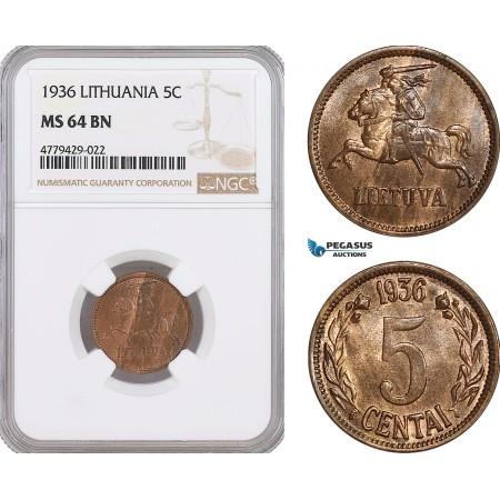 AF192, Lithuania, 5 Centai 1936, NGC MS64BN