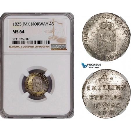 AF195, Norway, Karl XIV Johan, 4 Skilling 1825 JMK, Kongsberg, Silver, NGC MS64