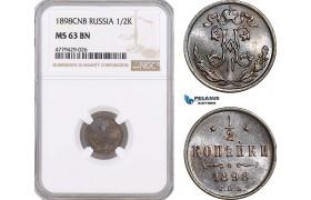 AF201, Russia, Nicholas II, 1/2 Kopek 1898, St. Petersburg, NGC MS63BN