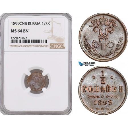 AF202, Russia, Nicholas II, 1/2 Kopek 1899, St. Petersburg, NGC MS64BN