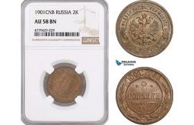 AF204, Russia, Nicholas II, 2 Kopeks 1901, St. Petersburg, NGC AU58BN
