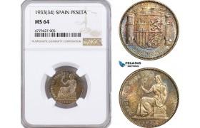 AF206, Spain, Franco, Peseta 1933 (34) Silver, NGC MS64