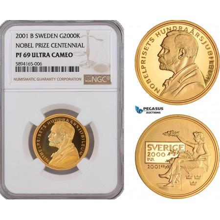 AF207, Sweden, Nobel Prize Centennial 2000 Kronor 2001, Stockholm, Gold, NGC PF69UC