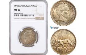 AF208, Uruguay, 1 Pero 1942-So, Santiago, Silver, NGC MS63
