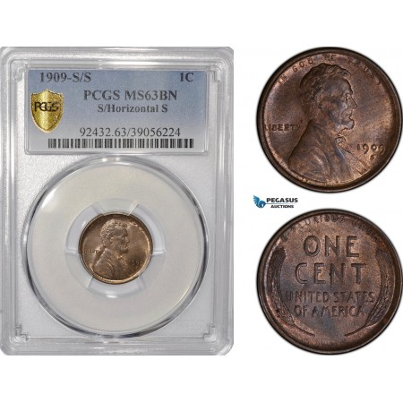 AF211-R, United States, Lincoln Cent 1909-S/S, S/Horizontal S, San Francisco, PCGS MS63BN
